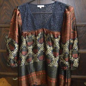 Sundance Silk and Lace Peasant Blouse